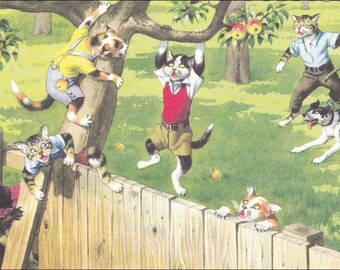Cats and Kittens, dogs back yard, Mainzer dressed cats vintage postcard, no. 4867 vintage postcard, SharonFosterVintage