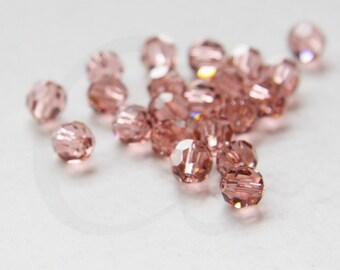4 Pieces Swarovski 5000 Round Crystal - Blush Rose 8mm (SW2221257)*