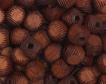 100 Pieces Wood Beads - Square - Cube - Dark Brown 9mm (100202)