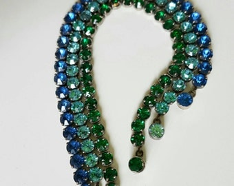 3 art deco 30s tennis paste bezel bracelets, blue, acquamarine and emerald green crystals,  sterling silver marked