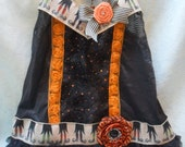 TUNIC Top Tank Halloween Whimsical Boho Black Orange romatic Spooky