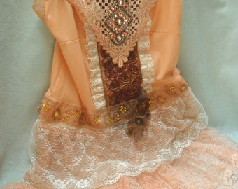 TUNIC Top Tank Whimsical Boho Romantic Fairylike Glam Girl Fairy Princess- Burnt Harvest and Ivory