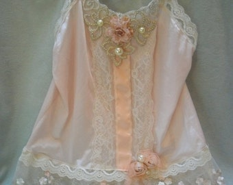 BIG Fall Sale 35% Off TUNIC Top Tank Romantic Boho Whimsical Fairy Princess Ethereal Faries Pinkish/Peach