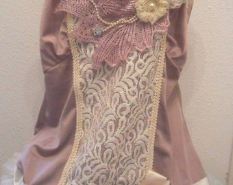 MidWinter Sale 20% Off 35 Percent OFF  FLAPPER Gatsby 1920s Downton Abbey Speakeasy - Vintage Slip Make Over -  Mauve and Ivory