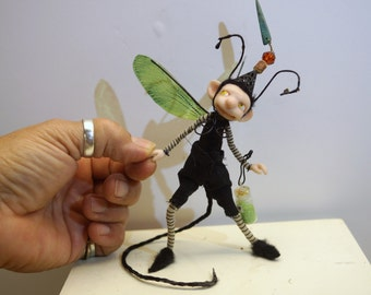 ooak poseable bug dust collector with a tail  PIXIE fairy ( #12) polymer clay art doll by DinkyDarlings elf pixie faery gnome