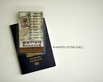 Custom luggage tag. British Railways. Double-Sided Miniature Collage Bag Tag / Bookmark / Keyholder