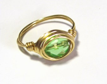 Green Ring, Peridot Green Wire Wrapped Ring,  Green and Gold  Bead Ring, August Birthstone Ring,