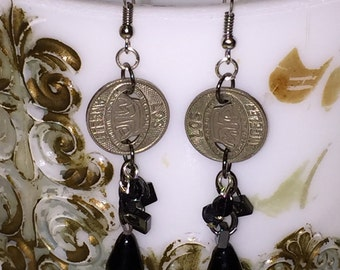 Vintage Subway Token Earrings with Antique Victorian Black Glass Drops Nailhead Beads