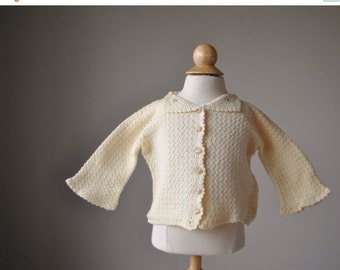 ON SALE 1950s Cream Knit Cardigan~Size 3 Months