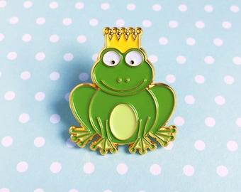 Frog Prince Enamel Pin - green froggy royal crown cute cartoon animal lapel