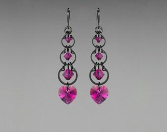 Pink Swarovski Crystal Earrings, Fuchsia Swarovski, Wedding Jewelry, Drop Earrings, Crystal Hearts,  Youniquely Chic, Fuchsia Progression