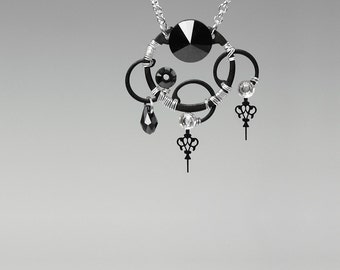 Steampunk Pendant with Black and Clear Swarovski Crystals, Pocket Watch Hands, Swarovski Necklace, Statement Jewelry, Zeus v9