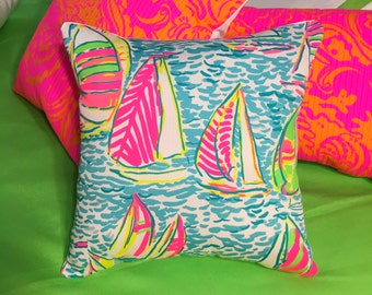 New Pillow Made with Lilly Pulitzer 2016 You Gotta Regatta fabric, 2 sizes available