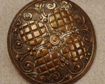 BRONZE  BUTTON Victorian Brass Metal Valentines Scrolls large round  Vintage  Raised 1 5/8 inch diam