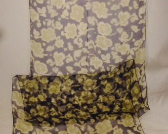 VINTAGE RODIER Scarf France Handcrafted SILK Gauze France handpainted flowers blue yellow long 62x22 in great condition
