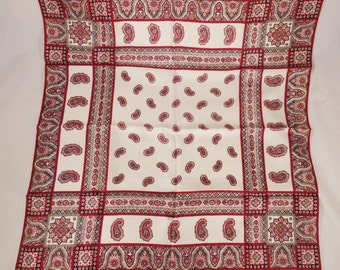 Vintage Designer KREIER SWITZERLAND  signed  Scarf  1970s silk red and white paisley 27x27 inches great condition