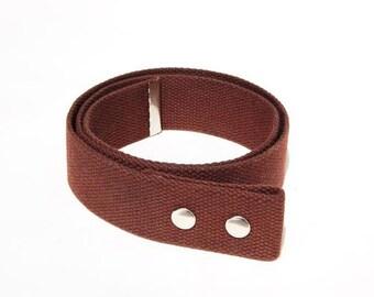 """Brown Waxed Cotton Belt - 1.5"""" Snap Belt"""