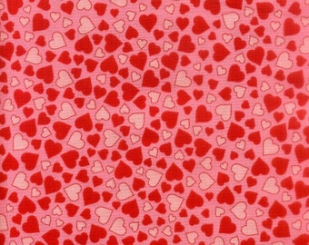 Clearance FABRIC LOVEBIRDS Hearts on Pink Valentine's Day by RJR 1/2 yard