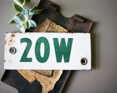 Vintage Enameled Sign, Apartment Number Plaque, 20W, 20 W, Machinery Tag | Green White Enamel | Voltage Signage | Industrial Decor