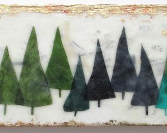 Encaustic Painting, encaustic art, wax art, tree art, pine trees, forest, home decor, wall art