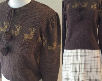 Brown Deer Puff Sleeve Winter Sweater, 70's Pom Pom fall /Autumn Sweater