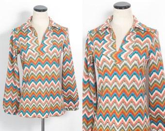 VTG 70's Hippie Chevron Tunic (Medium) Zig Zag Stripes Bell Sleeves Orange Blue Yellow V Neck Blouse Top Shirt Boho Sheer Open Weave Sweater