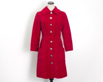 VTG 60's Bright Red Corduroy Princess Coat (Small / Med) Silver Button Up Knee Length Long Winter Jacket Retro