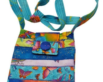 Small Purse in Pieces of Laurel Burch Birds and Butterflies with Adjustable Straps