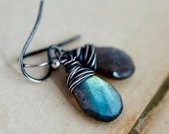 ON SALE Labradorite Earrings, Drop Earrings, Wire Wrapped, Sterling Silver, Thunder, Storm, Blue, Dangle Earrings, PoleStar, Antiqued
