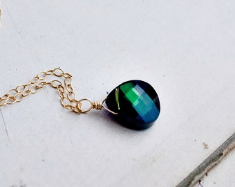 Emerald Green Necklace, Crystal Necklace, Crystal Pendant, Gold Necklace, Green Crystal, May, Emerald Green, Wire Wrapped, PoleStar
