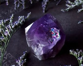 Amethyst Point - Amethyst Crystal with Polished Base - Amethyst Point with Natural Rainbow - Metaphysical Tranquility - Purple Amethyst