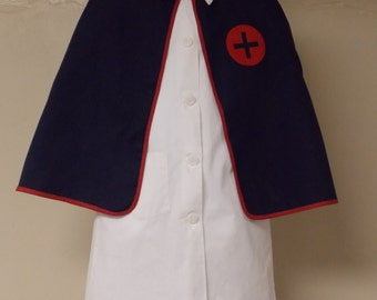 Vintage 2 piece Red Cross nurse uniform costume & navy cape girls costume