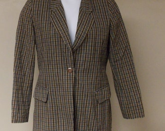 Neiman Marcus blazer small plaid blacks browns for fall/winter 100% cotton small