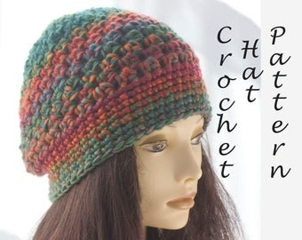Textured Beanie Hat Crochet Pattern,  Slouchy Beanie Crochet Pattern,  Instant Download, Hat PDF Pattern, Crochet Hat  Pattern