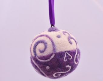 Needlefelted Purple Ornament, Needle Felted Christmas Ornament Whimsical Ornament #1928