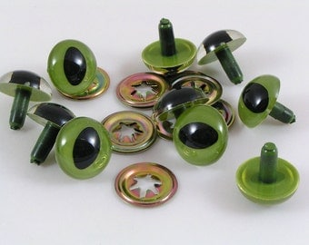 18mm Toy Cat Safety eyes, Green cats eyes with washers available in packs of 10 eyes and washers