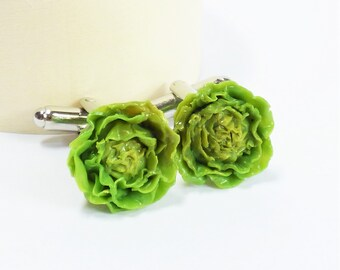 Lettucehead Cufflinks - Miniature Food Art Jewelry - 100% Handmade Schickie Mickie Original Collectable