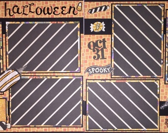 HAPPY HALLOWEEN 12 x 12 premade scrapbook layout - Girl Boy Halloween
