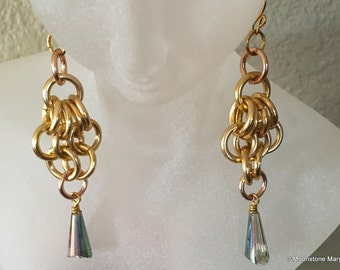 Handmade Crystal Earrings, Bridal Jewelry, Crystal Jewelry, Gift for Woman, Handmade Gold Earrings, Handmade Dangle Earrings, Sweet 16 Gift