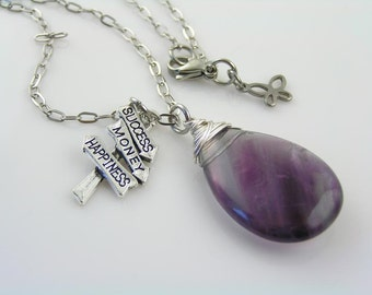 Fluorite Necklace, Inspirational Necklace with Sign Post Charm, Happiness Success and Money Charm, Fluorite Jewelry, Long Necklace
