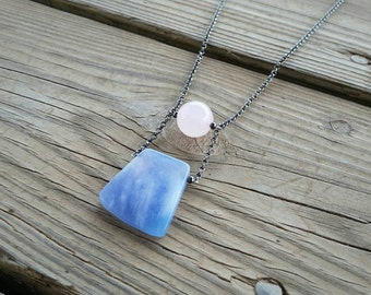 rose quartz & blue jade long pendant // rose quartz and serenity necklace // long pendant necklace // pink and blue stone // HEY09R