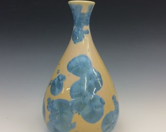 Light Blue and Tan Crystalline Glazed Teardrop Vase