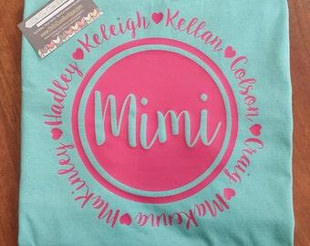Custom Mimi, Grandma, Mamaw, Nana Pocket T Shirt
