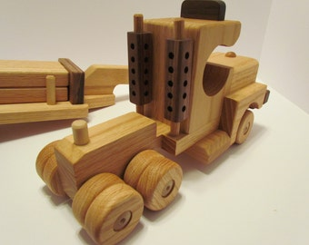 Sale 5 off! Wooden Handmade toys Tractor Lowboy Trailer with  logs red  oak & Walnut  Heirloom Quality Beautifully  finished  Beeswax
