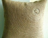 Back To Earth - Pillow Sham Covers - 24x24 Inches Linen Pillow Sham Cover with Jute Embroidery