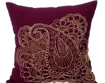 Decorative Throw Pillow Covers 16x16 Inches Purple Velvet Zardozi Embroidered Accent Pillows Toss Pillows Gold Henna