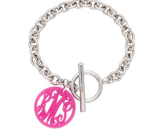 SALE-Acrylic Monogram Toggle Bracelet-Ava Acrylic Bracelet-Your Choice of Color and Font