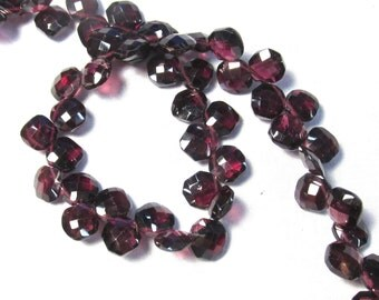 Rose Cut Rhodolite Garnet Briolette Beads, 8 1/2 Inches, Asscher Cushion Square Natural Gemstones