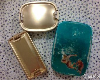 Vintage Japan Lot of 3 Bento Lunch Box Tins with Bottle Opener Set