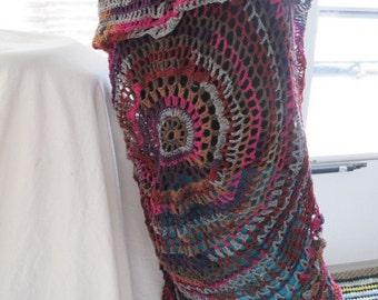 Multicolor Maxi Boho Vest, Maxi Vest, Long Circle Vest, Long Circle Shrug, Mandala Vest, Long Mandala Vest, Bohemian Vest, Stevie Nicks Vest